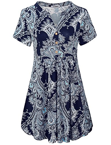 Long Sleeve Tunic, Womens Blouses Mandarin Banded Collar Short Sleeve Button Front Pleated Embellished Chic Paisley Tunic Dress Highwaist Peplum Tops Boutique Clothing Navy Blue XL