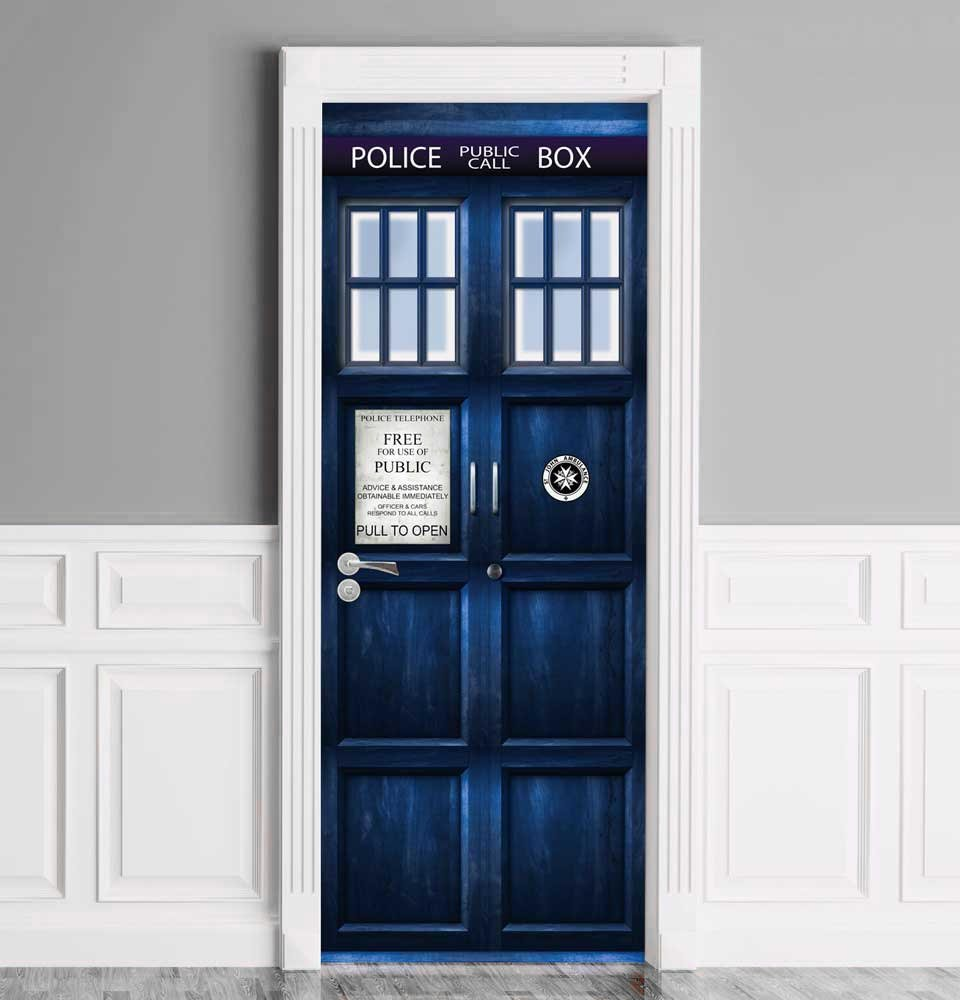 Sticker for Door/Wall/Fridge - London Police Box. Peel & Stick Removable Mural, Decole, Skin, Wrap, Decal, Cover, Poster 30x80