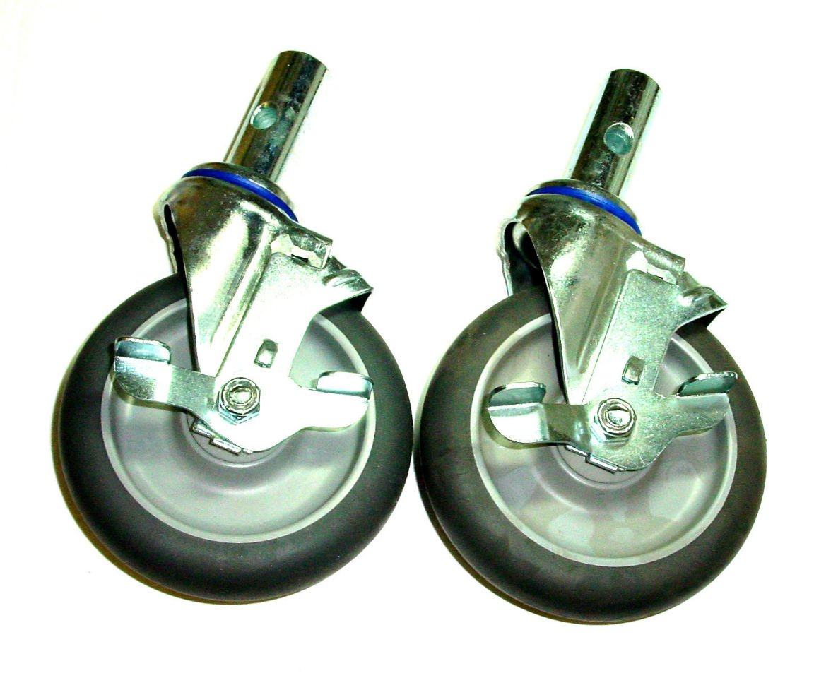Two Replacement Swivel 5'' Caster for Convertible Hand Trucks Side Lock Brake