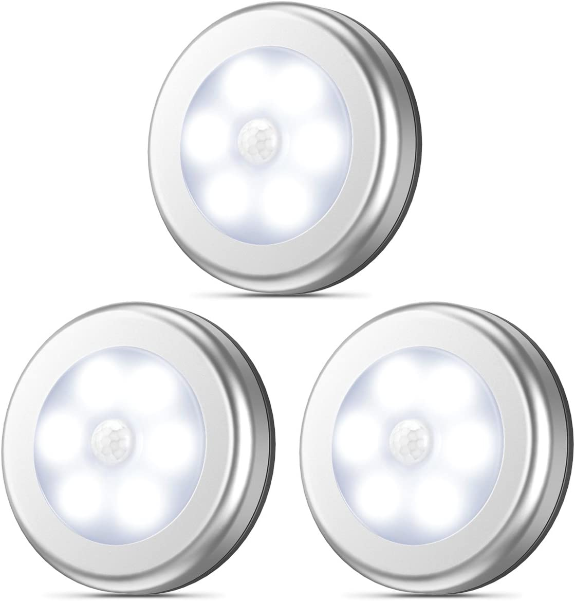 AMIR Motion Sensor Light, Stick-Anywhere Cordless Battery-Powered LED Night Light, Closet Lights Stair Lights, Tap Lights, Safe Lights for Hallway, Bathroom, Bedroom, Kitchen White – Pack of 3