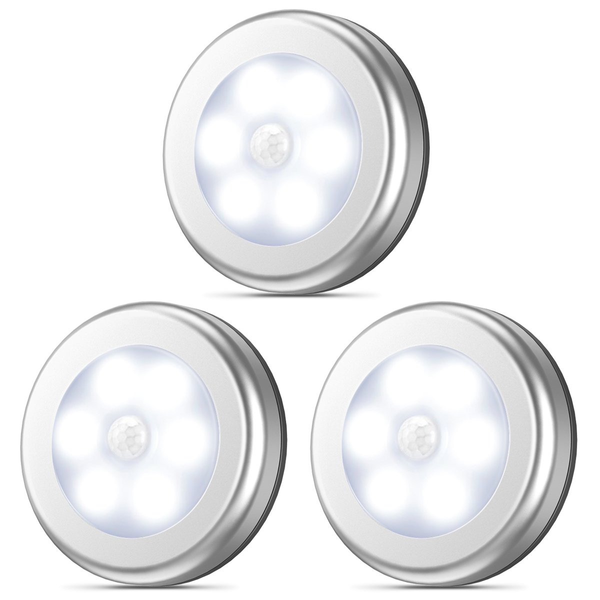 AMIR Motion Sensor Light, Stick-Anywhere Cordless Battery-Powered LED Night Light, Closet Lights,Stair Lights, Tap Lights, Safe Lights for Hallway, Bathroom, Bedroom, Kitchen (White - Pack of 3)
