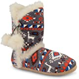 Ladies Dunlop Knitted Bootee Slippers Fair Isle Warm Ankle Boot Eskimo Winter Womens Slippers