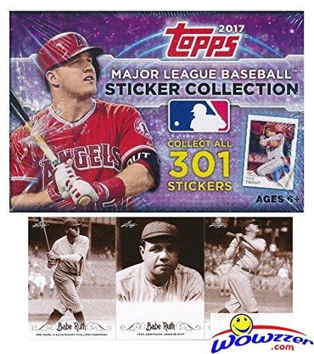 2017 Topps MLB Baseball Stickers MASSIVE Factory Sealed 50 Pack Box with 400 Stickers Plus BONUS (3) BABE RUTH Cards! Look for Stickers of Mike Trout, Kris Bryant, Bryce Harper & Many More! WOWZZER ! (Mlb Topps Box)