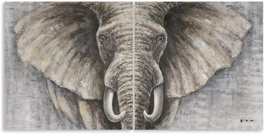"""B BLINGBLING Elephant Wall Art Bathroom Decor, Khaki African Animals Artwork Elephant Head Pictures Decorations for Home Wall, Office (24""""x24""""x2panels)"""