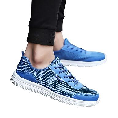 JiaMeng Zapatillas Deporte Hombre Zapatos para Correr Athletic Cordones Casuales Transpirables y cómodos con Cordones Hombre Zapatillas de Deporte de Malla ...