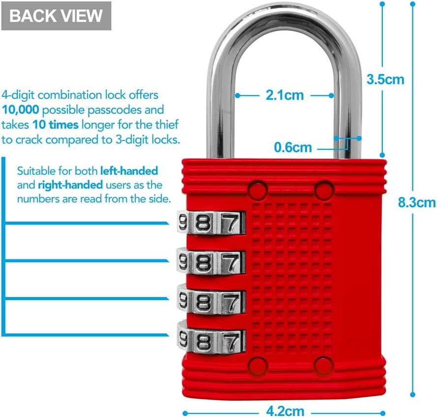 Padlock 4 Digit Combination Lock For Gym Sports School Employee Locker Outdoor Fence Hasp And Storage All Weather Metal Steel Easy To Set Your Own Keyless Resettable
