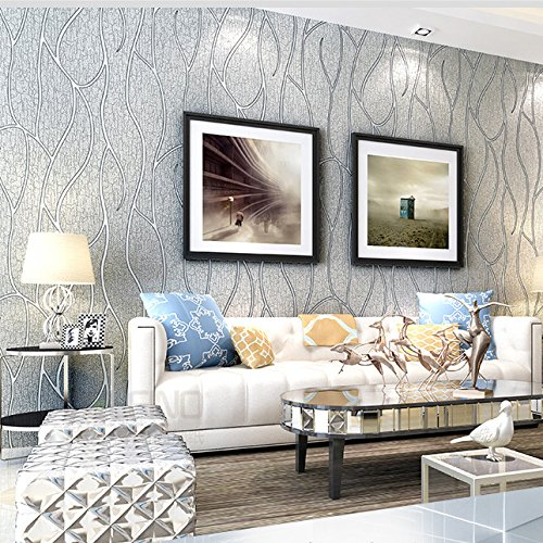 QIHANG Modern Luxury 3D Thick Non-Woven Imitation Deerskin Deep Embossed Curve Pattern Living Room/TV Background Wallpaper Roll 1.73' x 32.8'=57 Square feet (Gray)