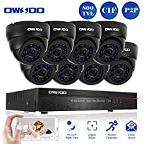 OWSOO 16CH CIF CCTV Surveillance DVR Security System HDMI P2P Cloud Network Digital Video Recorder with 8x 800TVL Indoor Infrared Dome Camera, Support IR-CUT Night Vision Plug and Play - Black