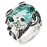 Sterling Silver CZ & Glass Simulated Blue Topaz Turtle Ring - Size 8