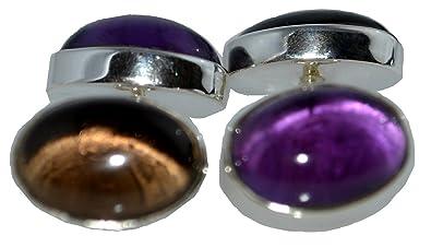Purple Amethyst Cufflinks Double Sided Mens 925 Sterling SILVER Jewelry Gift NEW