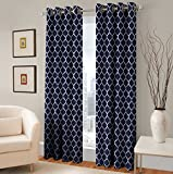 TreeWool, Trellis Accent Pure Cotton Window Panel Drape Decorative Grommet Curtain (Set of 2 Panels, 48″ x 96″, Navy Blue) Review