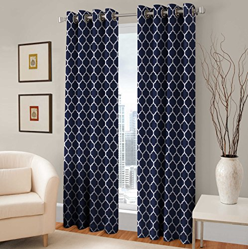 Cheap TreeWool Navy Blue Grommet Window Curtain Panel (Set of 2 Panels, 48×84 Inches Each) Trellis Accent 100% Cotton