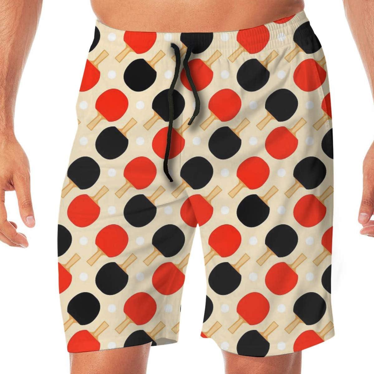Tenis de Mesa de Patrones sin Fisuras de Secado rápido de Encaje elástico Ba?Adores de Playa Pantalones Cortos Pantalones Traje de ba?o Traje de ba?o con Bolsillos.