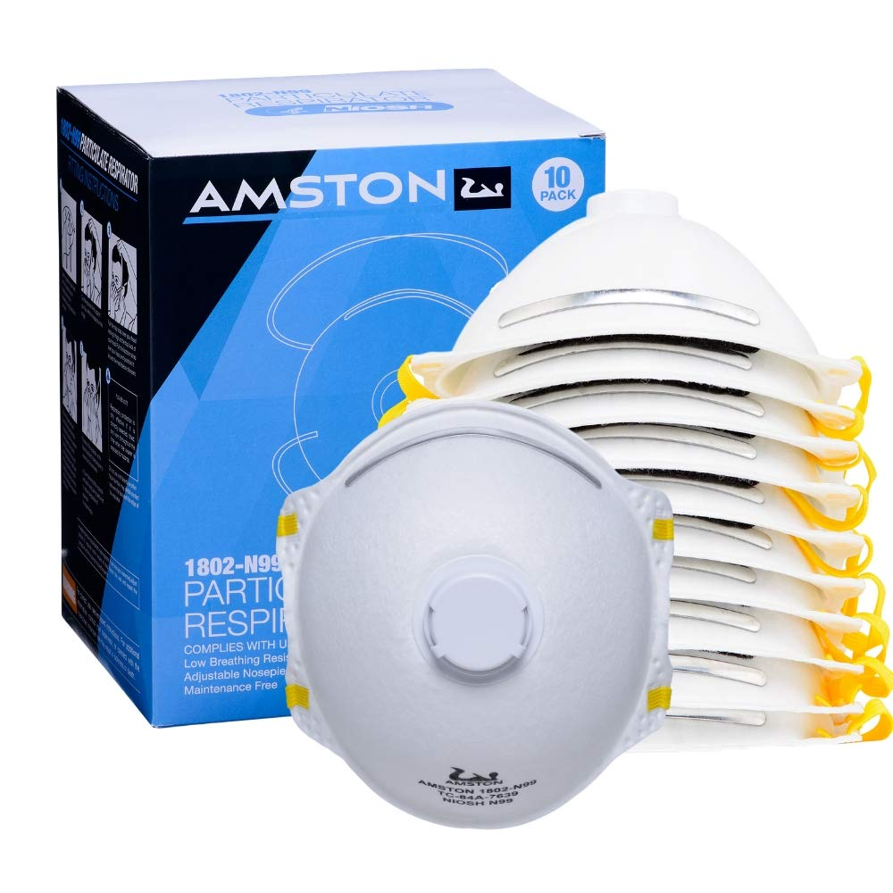 Amston N99 Model 1802 Protective Dust Mask with Exhalation Valve - Particulate Respirator - NIOSH-Certified - 10/box - 1 box by Amston Tool Company