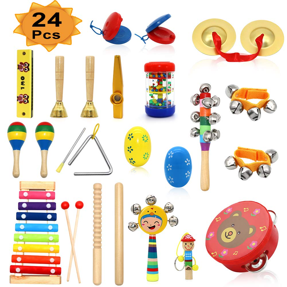 PETUOL Kids Musical Instruments, 24 PCS Musical Percussion Instrument Set for Toddlers, Xylophone Tambourine for Children Preschool Education, Early Learning Musical Toys for Boys and Girls Backpack by PETUOL
