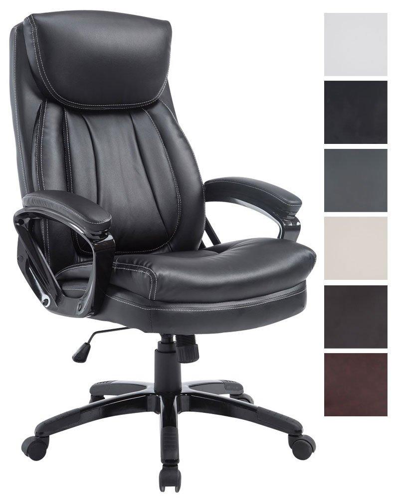 CLP Bürostuhl XL-PLATON mit hochwertiger Polsterung und Kunstlederbezug I Chefsessel mit stufenloser SitzHöhenverstellung I Drehstuhl mit Laufrollen Schwarz