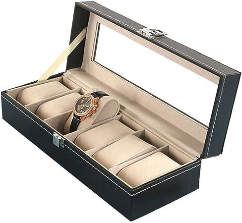 0LL PU Caja, Caja para Relojes, Caja Joyería, Caja Exposición para Relojes, Estuche para Guardar Relojes Joyas, Caja Vitrina 2/3/6/10/12 Compartimentos Hecho a Mano (Color : 6 Watches): Amazon.es: Hogar