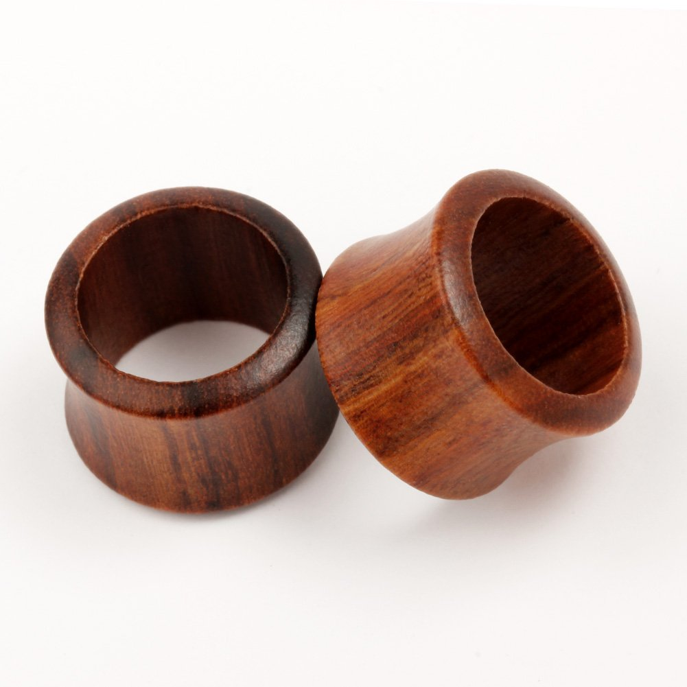 KUBOOZ Nature Red Sandalwood and Ebony Wooden Ear Plugs Concise Style Ear Pierced 8mm-25mm