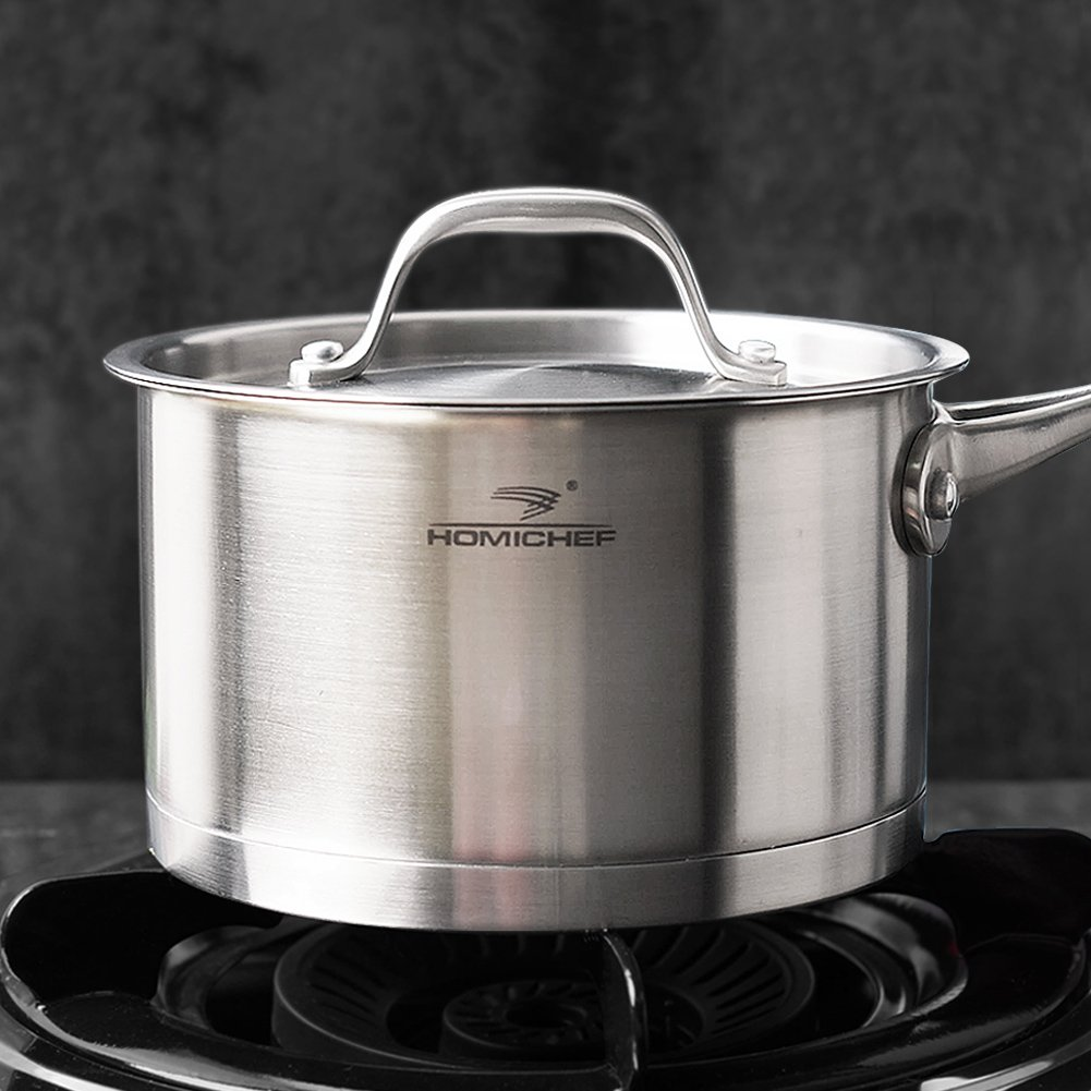 HOMI CHEF Matte Polished NICKEL FREE Stainless Steel 1.75 QT(Quart) Sauce Pan/Sauce Pot with Lid (No Toxic Non Stick Coating, 7 Inch Straight Sided) - Cookware Pots And Pans Sets 30111