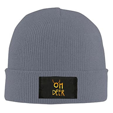 8e732bef SWEYUE Oh Deer Unisex Knit Beanie Hat 100% Acrylic Daily Warm Soft Hats  Black - Grey -: Amazon.co.uk: Clothing