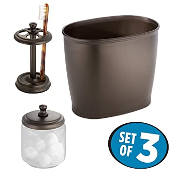 Charming MDesign Glass Apothecary Jar, Toothbrush Holder Stand, Wastebasket Trash Can  For Bathroom, 3