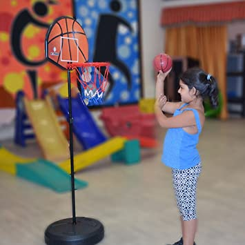 948ca00ac2f Buy EVANA Adjustable Basketball Board Stand With Darts Target   Hoop Set  For Children Kids (Color as per availability) Online at Low Prices in India  ...