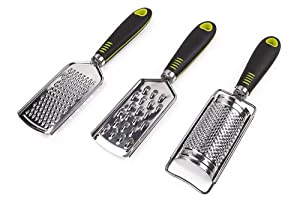 Hand Held Grater Set of 3(2 Flat, 1 Round),Stainless Steel Cheese Grinder,Multi-purpose Kitchen Food Grater for Vegetable,Fruit,Chocolate By HTB