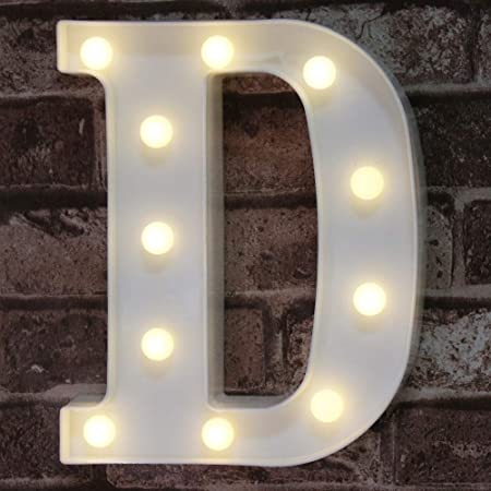 LED LIGHT INDUSTRIAL BLACK METAL ALPHABET LETTER  D WALL// FREE STANDING 13 IN.