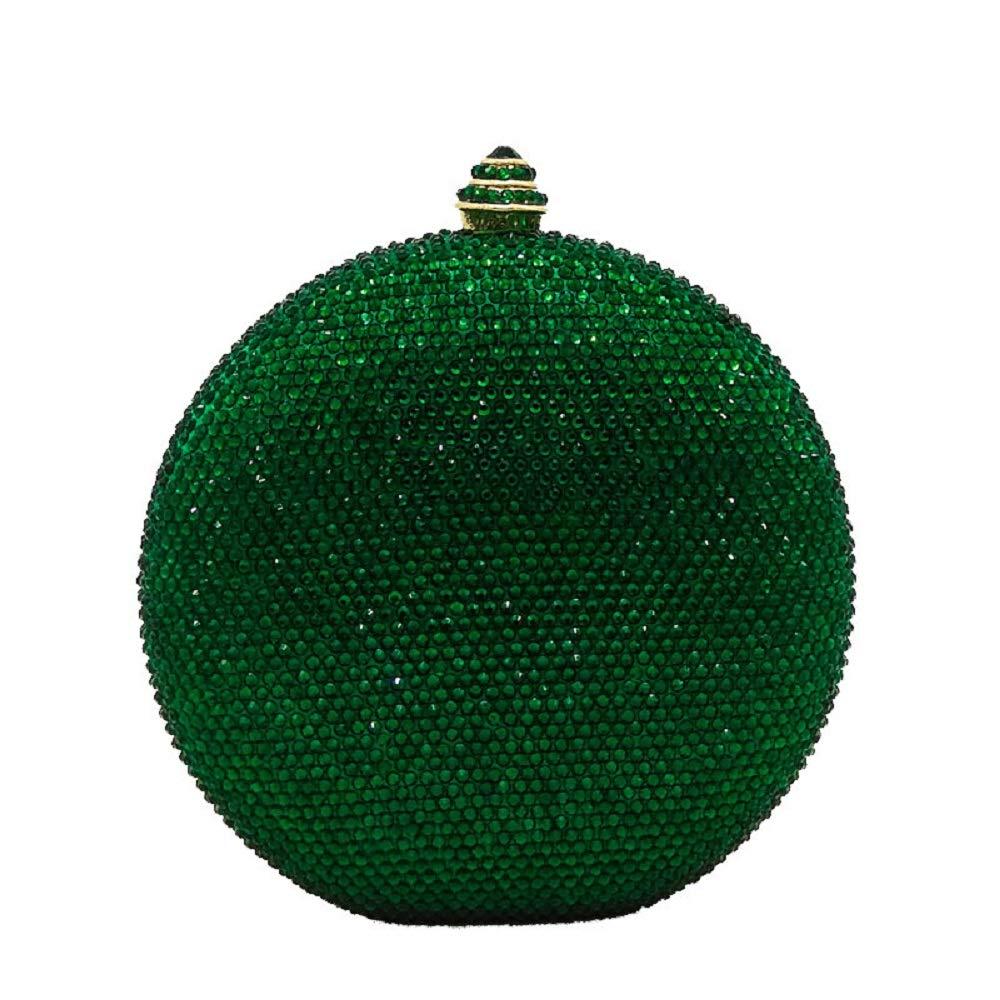 Green Round Circular Crystal Clutch Evening Bag Mini Metal Minaudiere Clutches Wedding Party Bridal