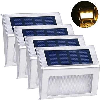STRIR 3 LEDs Luces Solares para Exterior Jardín Lámparas Solares impermeable IP55 Exterior, Solar Panel del acero inoxidable llumina a las escaleras, pared, patio y jardín etc 4Pack (Luz amarilla): Amazon.es: Iluminación