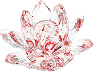 """Zoogamo 5"""" Red Crystal Lotus Flower – Glass Home Decor for Feng Shui with Clear Reflection & Gift Box"""
