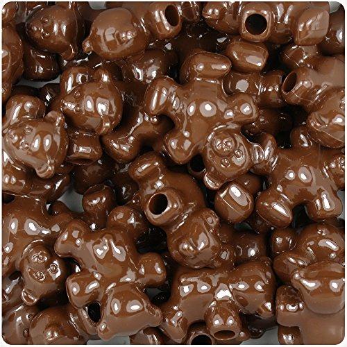 BeadTin Chocolate Opaque 25mm Teddy Bear Pony Beads - Bead Bear Teddy