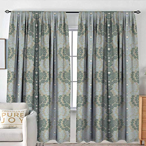 Blackout Thermal Insulated Window Curtain Valance Floral,Abstract Art Damask Desgin Floral Ornament Background Wallpaper Pattern Print,Blue and Taupe,Rod Pocket Valances 84