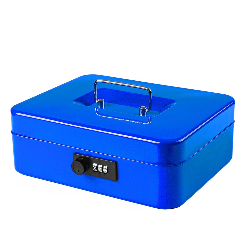 Jssmst Cash Box with Combination Lock (Medium Size 10''x7'') – Durable Metal Cash Box with Money Tray, Blue, CB0702L