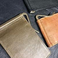 Billetera de piel con money clip/tarjetero diseño minimalista/Cartera de piel para hombre (Cuero Italiano)