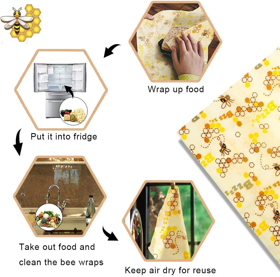 Queso Pan Gxhong Envoltura de Cera de Abejas Amarillo Envolturas de Alimentos Reutilizables//Envolturas de Almacenamiento de Alimentos sostenibles ecol/ógicos Beeswax Wraps para s/ándwiches Frutas