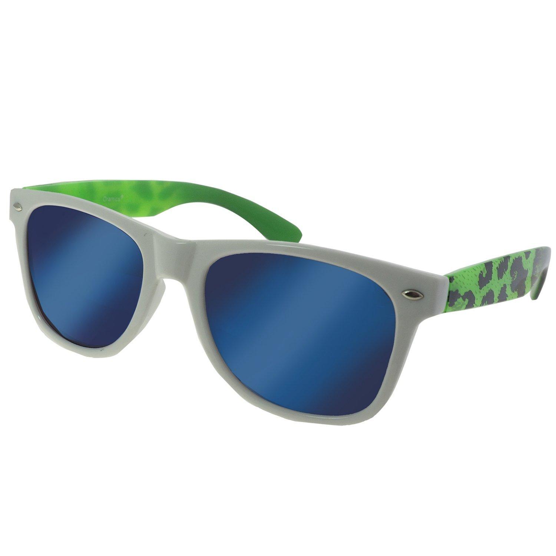 Oramics verspiegelte Sonnenbrille Wayfarer Style in Weiß-Grün (blau verspiegelte Gläser)
