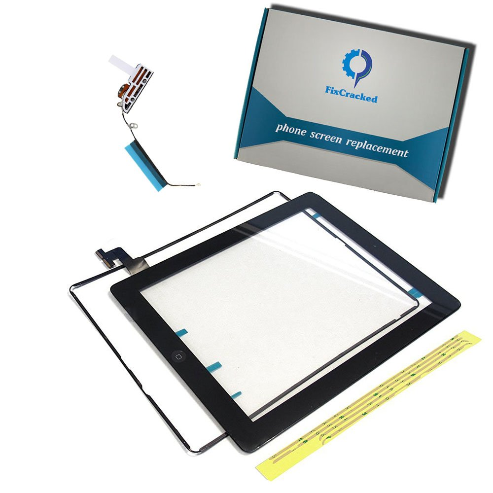 FixCracked Screen replacement for iPad 2, Front Touch Digitizer Assembly Replacement include Home Button +Camera Holder + Adhesive pre-installed+Middle Frame Bezel+WIFI Antenna Cable (Black)