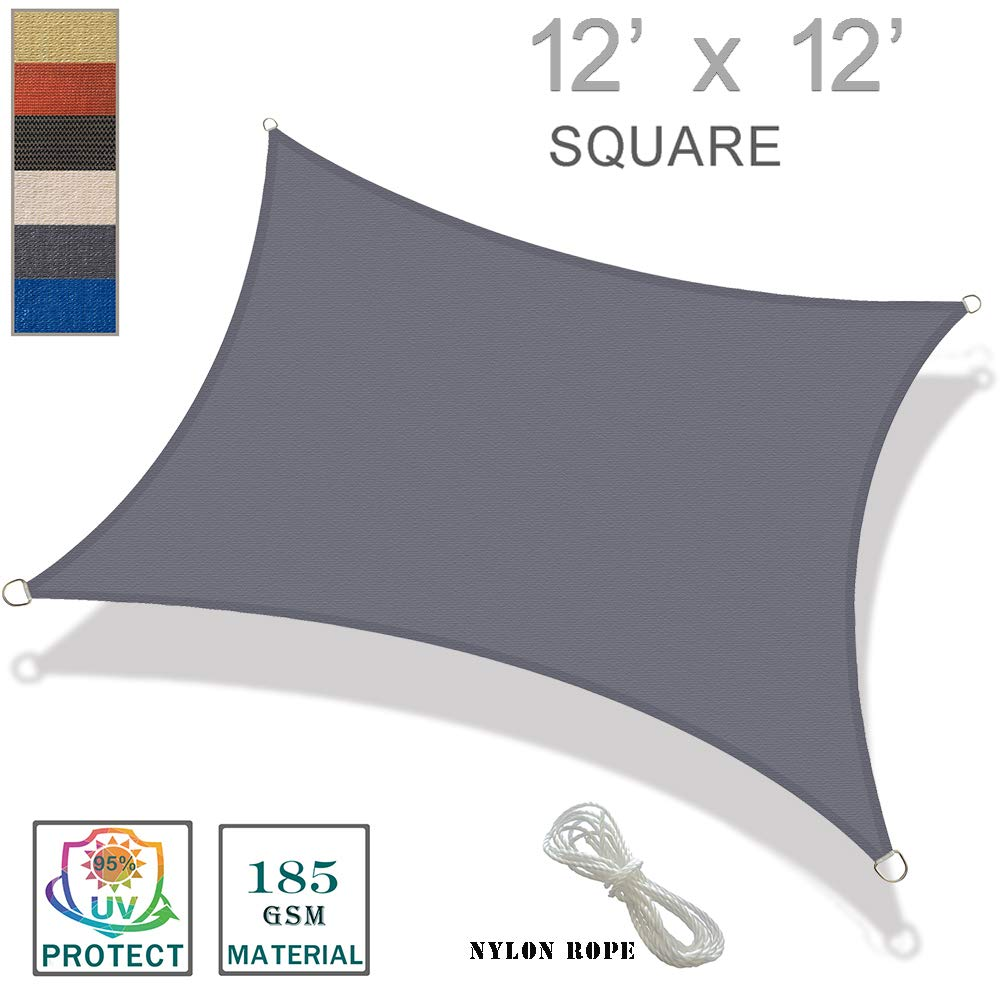 SUNNY GUARD 12' x 12' Charcoal Square Sun Shade Sail UV Block for Outdoor Patio Garden