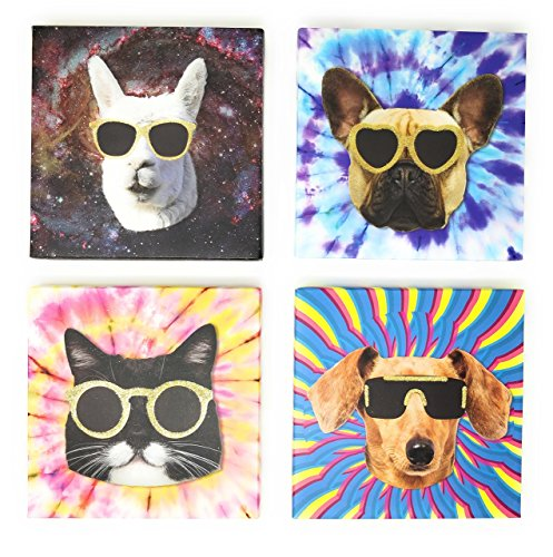 Shady Pets Wall Art with Galaxy Lama, Tie Dye Kitty, Tie Dye Pug, Derpy Doggy Each pet wearing their own style of gold glitter glasses. Set of 4 Canvas Wall Art prints for Girls Bedroom Boys Bedroom P