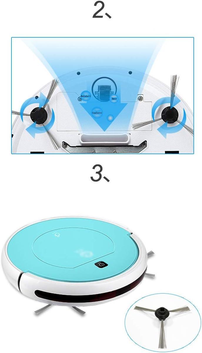 Robot Aspirateur 3 en 1, fonction balai, aspirateur et laveur de sol Recharge Auyomatique pour les poils d\'animaux, Moquettes et Sols Durs (Color : White) White