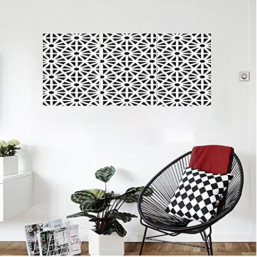 Liguo88 Custom canvas Arabesque Authentic Moroccan Islamic Old Motif with Oriental Effects Middle Eastern Print Wall Hanging for Bedroom Living Room Black White by Liguo88