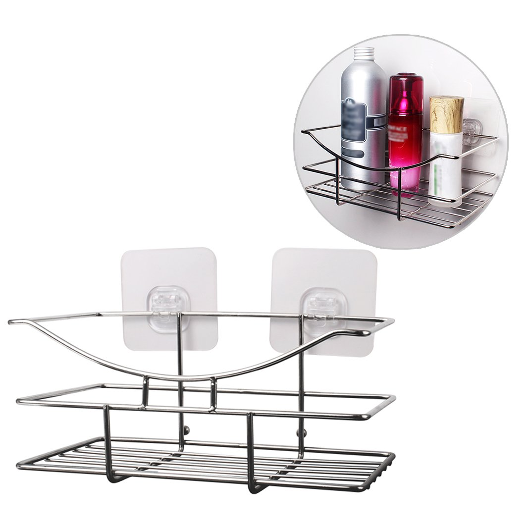 HuaForCity Shower Caddy Shelf,Bathroom Basket with Suction Cups,Stainless Steel Bath Rectangular Storage Organizer No-Drilling for Shampoo,Conditioner,Soap by HuaForCity