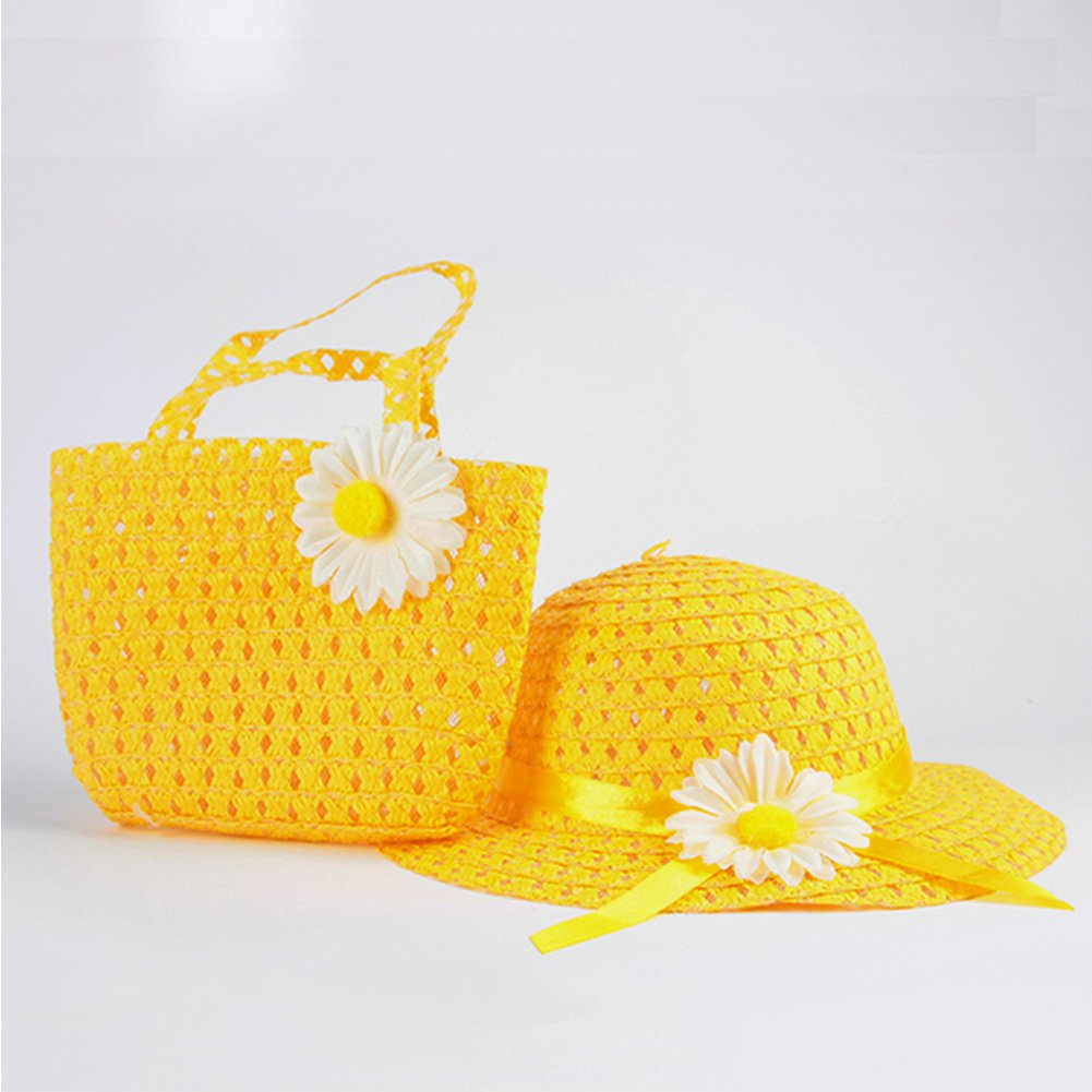 GEZICHTA Hermoso juego de gorra y bolso de mano para bebés y niñas, diseño de pajita, amarillo
