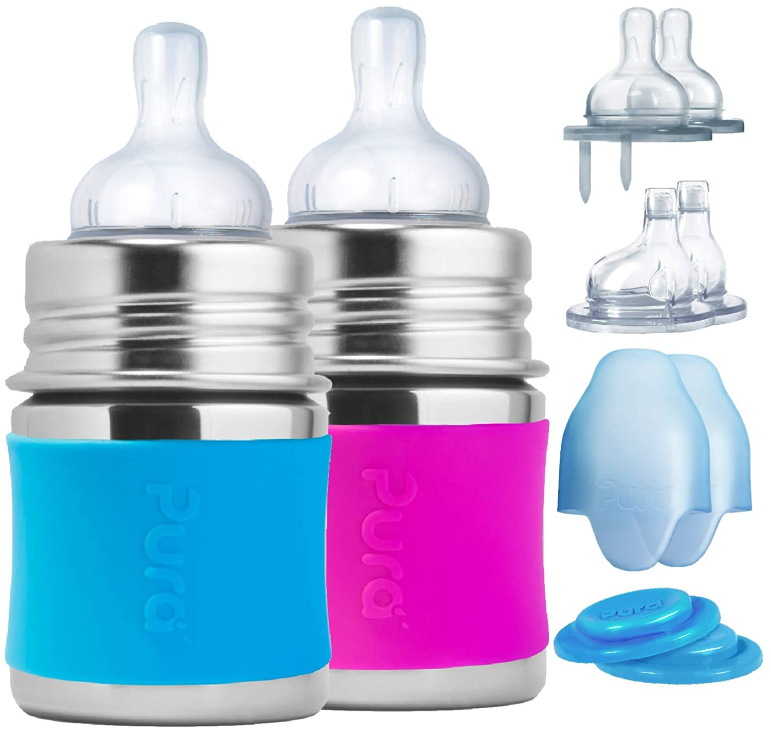 Pura Stainless Starter Gift Set with 5oz/150 ml Stainless Steel Infant Bottles(2) Silicone Slow-Flow Nipples(2), Medium-Flow Nipples(2), XL Sipper Spouts(2) Sealing Disks(2), Sleeves(2)- Aq&Pnk
