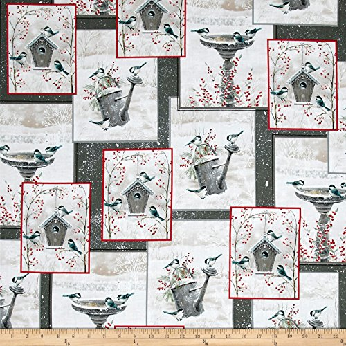 Quilting Treasures 0541709 QT Winter Garden Overlapping Patches Gray Fabric by The ()