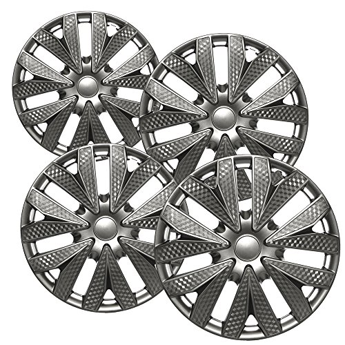 Hubcaps for 15 inch Standard Steel Wheels (Pack of 4) Wheel Covers - Snap On, Gun Metal Gray Gunmetal Wheel