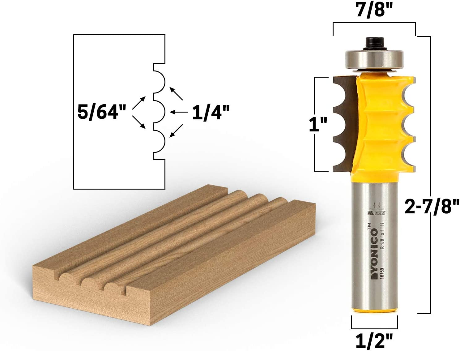 Yonico 13191q 1//4-Inch Bead Bullnose Bead Router Bit 1//4-Inch Shank