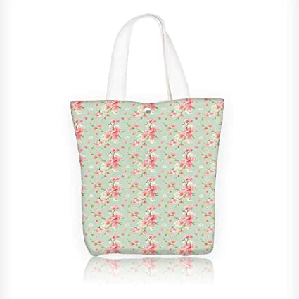 Ladies canvas tote bag Spring Blossom with French Garden Florets Garland  Artisan Pink reusable shopping bag c33fa0dd77848