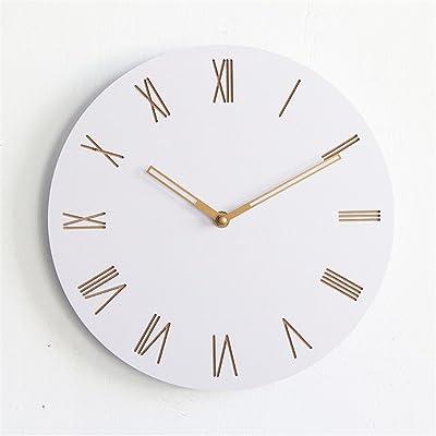 Wall Clock WERLM Creative children's room bedroom minimalist study bedroom wooden mute clocks living room 12 inches,